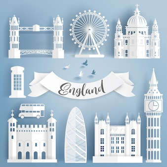Paper cut of world famous landmark elements of london