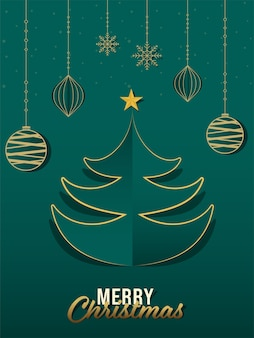 Paper cut xmas tree with golden star, hanging baubles and snowflakes on green background for merry christmas celebration.