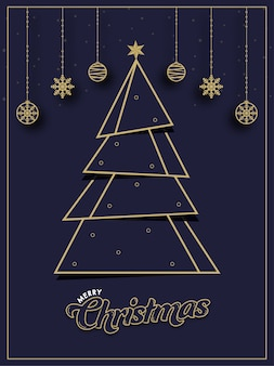 Вырезать из бумаги рождественское дерево со звездой, висячими шарами и снежинками, украшенными на фиолетовом фоне для счастливого рождества.