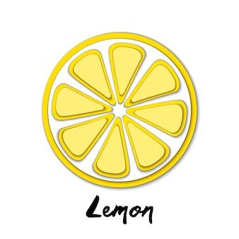 Paper cut yellow lemon, cut shapes.