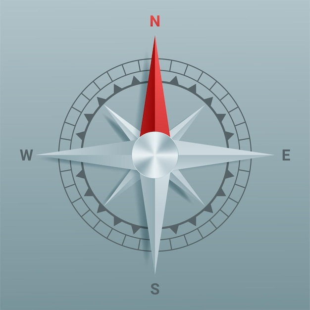 Paper cutout compass with shade in and origami style