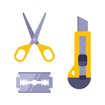 紙切りキット。文房具のナイフ、刃、はさみ。子供たちの裁縫。 Premiumベクター