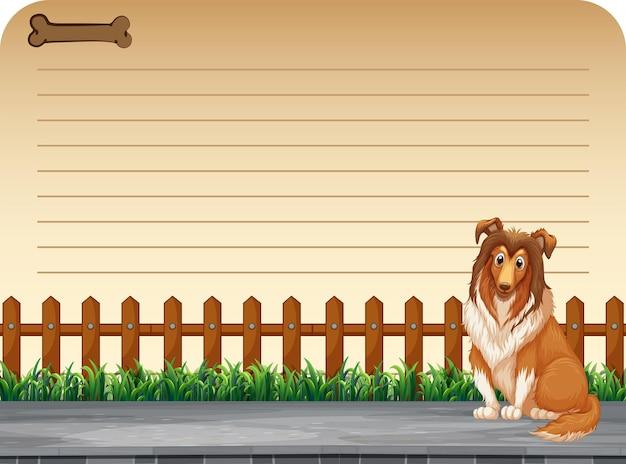 Disegno di carta con cane vicino al recinto