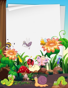 Paper design with insects in the garden
