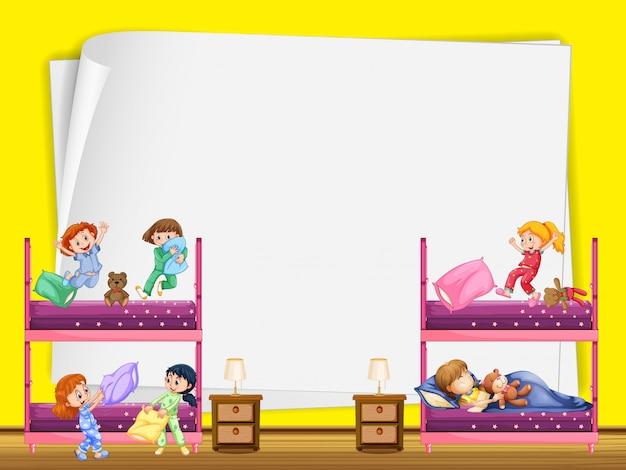 Paper design with kids in bedroom