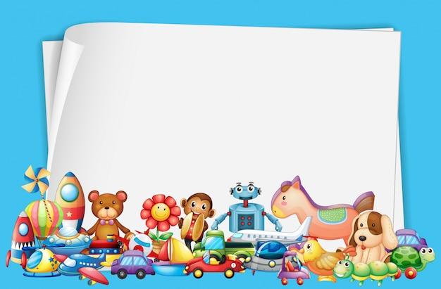 多くのおもちゃを持つ紙のデザイン