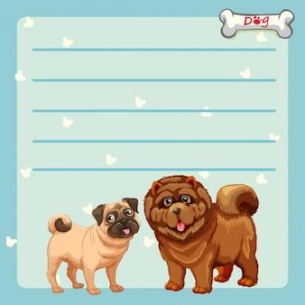 2つのかわいい犬のペーパーデザイン
