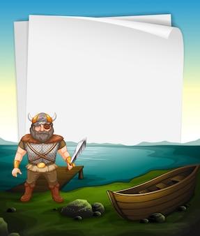 Дизайн бумаги с викингом на море