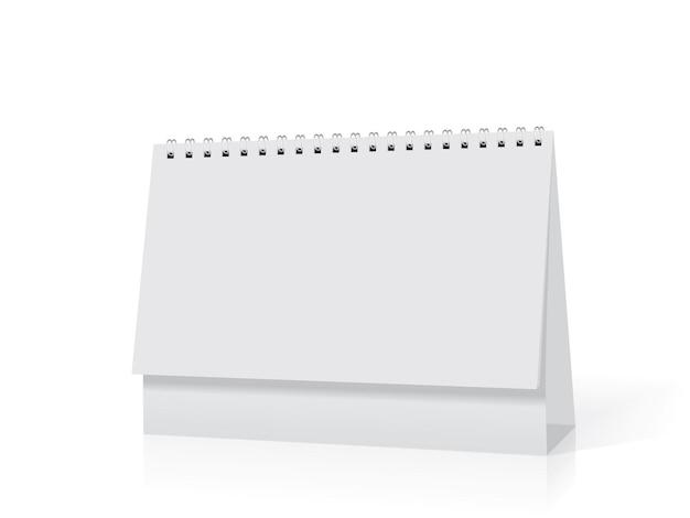 Paper desk spiral calendar mockup vector template