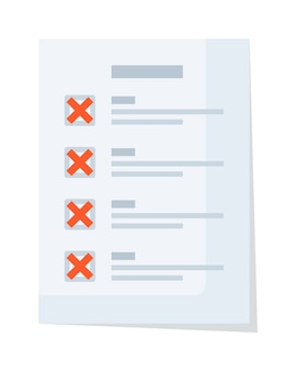 赤い拒否と誤ったチェックマークが付いた紙の文書チェックリスト