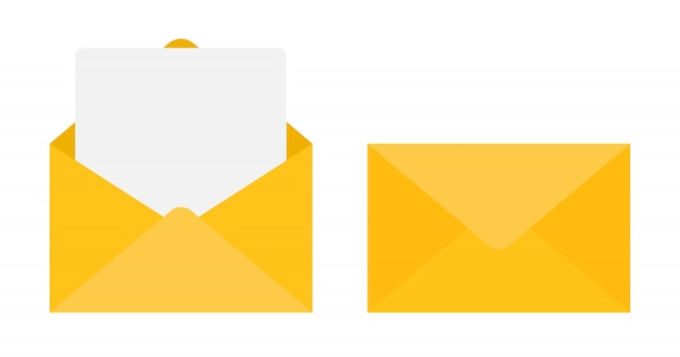 Paper document enclosed in an envelope.  illustration