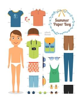 Бумажная кукла мальчик в летней одежде и обуви. симпатичная кукла из бумаги. шаблон тела, экипировка и аксессуары. летняя коллекция