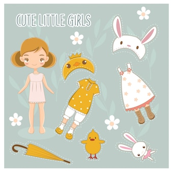 Paper doll of cute little girl