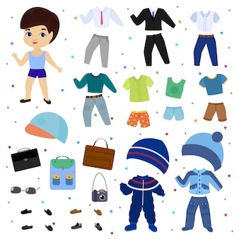 Paper doll vector boy dress up clothing with fashion pants or shoes illustration boyish set of male clothes for cutting cap or t-shirt isolated.