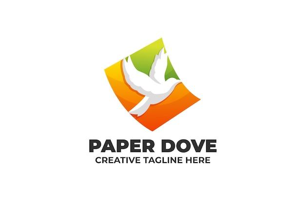 Бумага голубь свобода fly градиент логотип бизнеса