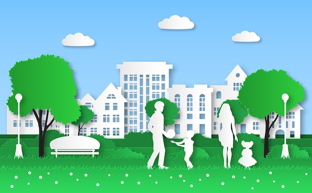 Бумажный эко-город. семья с детьми в зеленом природном парке, городской экосистеме и природной энергии оригами, экологическая среда, создающая концепцию защиты окружающей среды дома