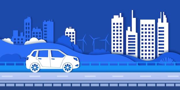 紙エコシティロード。電気自動車、グリーン再生可能エネルギー、エコロジーベクトルの概念を保存するグリーン環境とスマートシティ。イラスト都市の自然のランドマーク