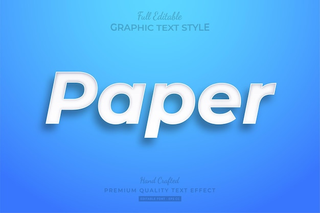Paper editable text effect font style