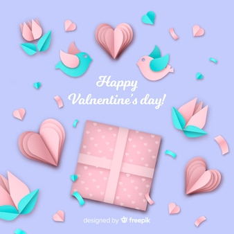 Paper elements valentine's day background