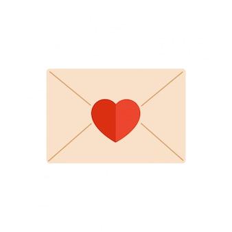 白から分離された赤いハートで飾られた紙の封筒