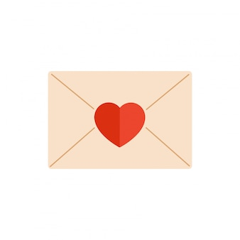 Paper envelope decorated with a red heart isolated from white