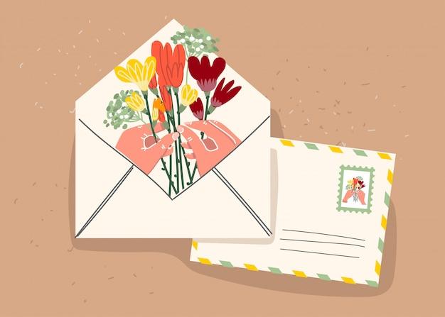 Бумажный конверт с марками и декоративными элементами на изолированном фоне. плоский рисунок. ,