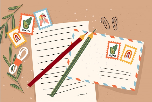 Paper envelope with stamps and decorative elements on an isolated background. flat illustration. .