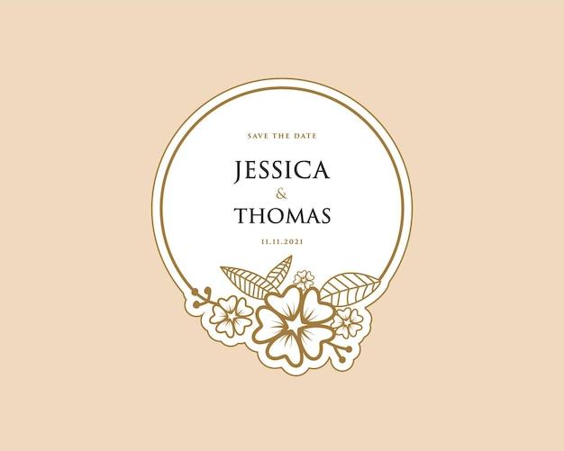 꽃다발 스파 뷰티 살롱 부티크 웨딩 카드에 대한 종이 여성 식물 화환 로고 스티커