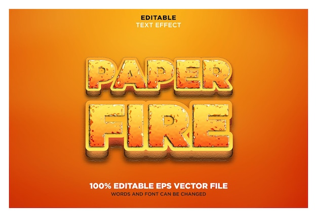 Paper fire editable vector eps text effect