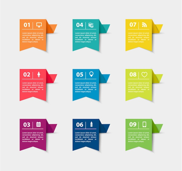 Paper flag stickers and labels with realistic shadows for infographic set