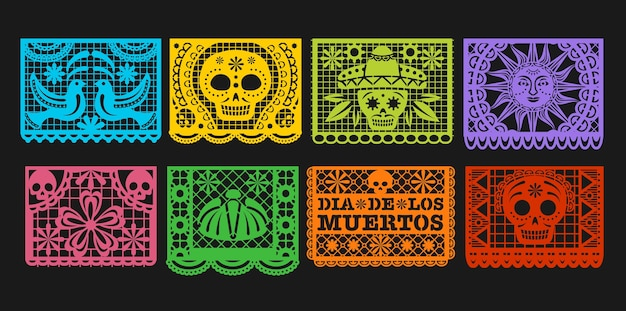 Paper flags,  mexican day of the dead papel picado bunting. mexico dia de los muertos or halloween holiday garland with cut out ornaments of skeleton skull, sombrero, marigold flower and bird