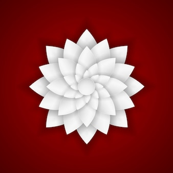 Paper flower on red background.