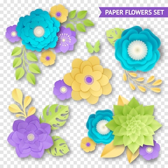Paper flowers compositions transparent set