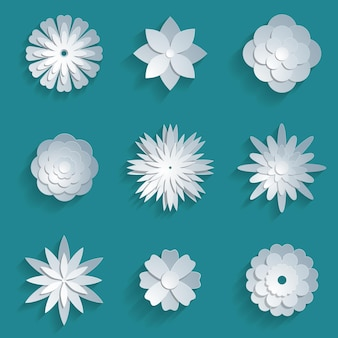 Paper flowers set. 3d origami abstract flower icons illustration