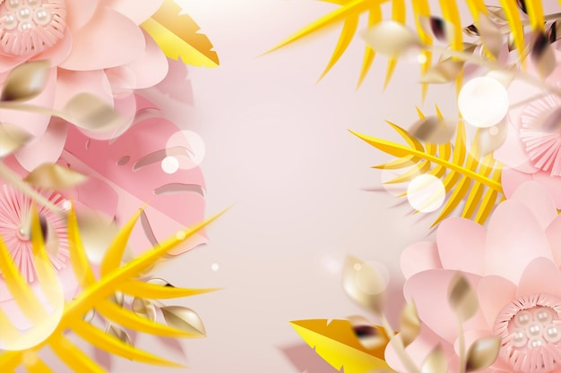 Paper flowers and tropical leaves in 3d