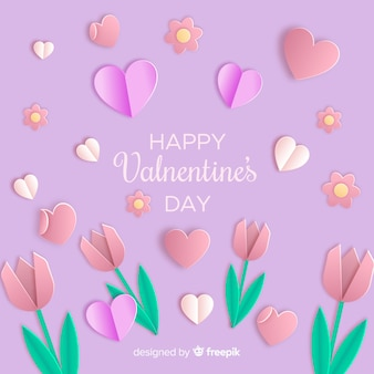 Paper flowers valentine's day background