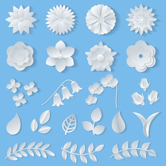 Paper flowers vector floral wedding decoration or flowered greeting card decor for flowering invitation or wallpaper illustration flowery set of beautiful flora leaves isolated