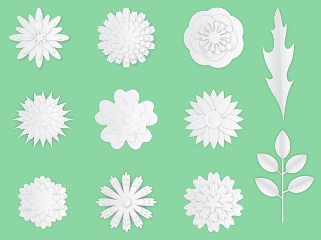 紙の花。ホワイトペーパー折り紙の花の創造的な構成の花束、桜の花びら。