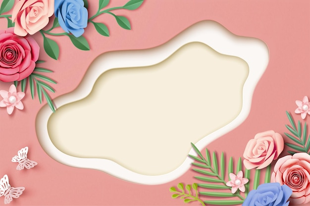 Paper flowers with leaves on pink background in 3d illustration, top view