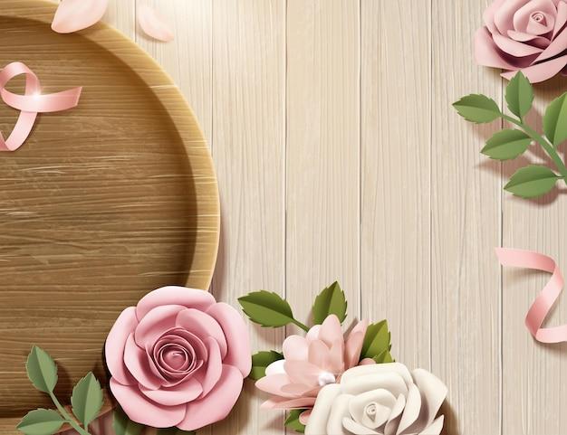 Бумажные цветы с деревянной тарелкой на деревянном столе в 3d иллюстрации