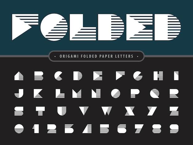 Бумага сложенная алфавит письма и цифры, современные стилизованные шрифты оригами