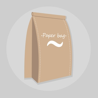 Paper food bag vector illustration isolated