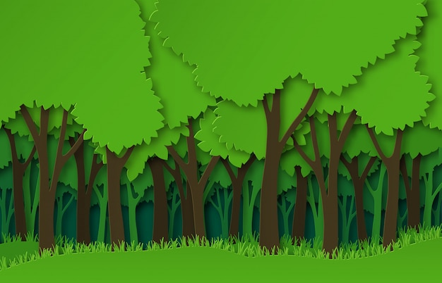 Paper forest. green paper cut trees silhouettes, natural layered landscape.  origami ecosystem abstract  concept