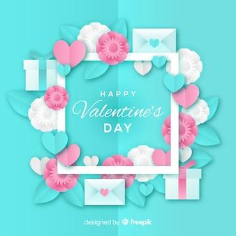 Paper frame valentine's day background
