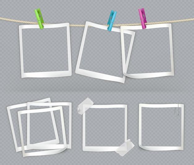 Бумажные рамки с прозрачностью. 3d вектор реалистичный набор