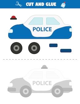 미취학 아동을위한 종이 게임. 경찰차와 교육 워크 시트입니다.