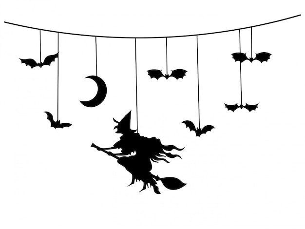 Paper garland for halloween with mystical creatures.   illustration.