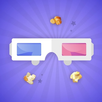 Paper  glasses whit blue and red lenses. cinema movie film watching design element.  illustration.