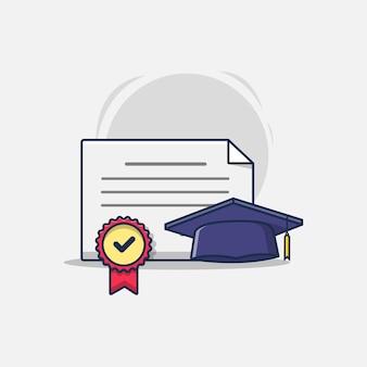 メダルと帽子の紙の卒業証明書