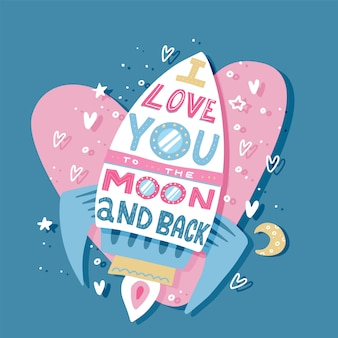 Paper greeting card with colorful love rocket and text